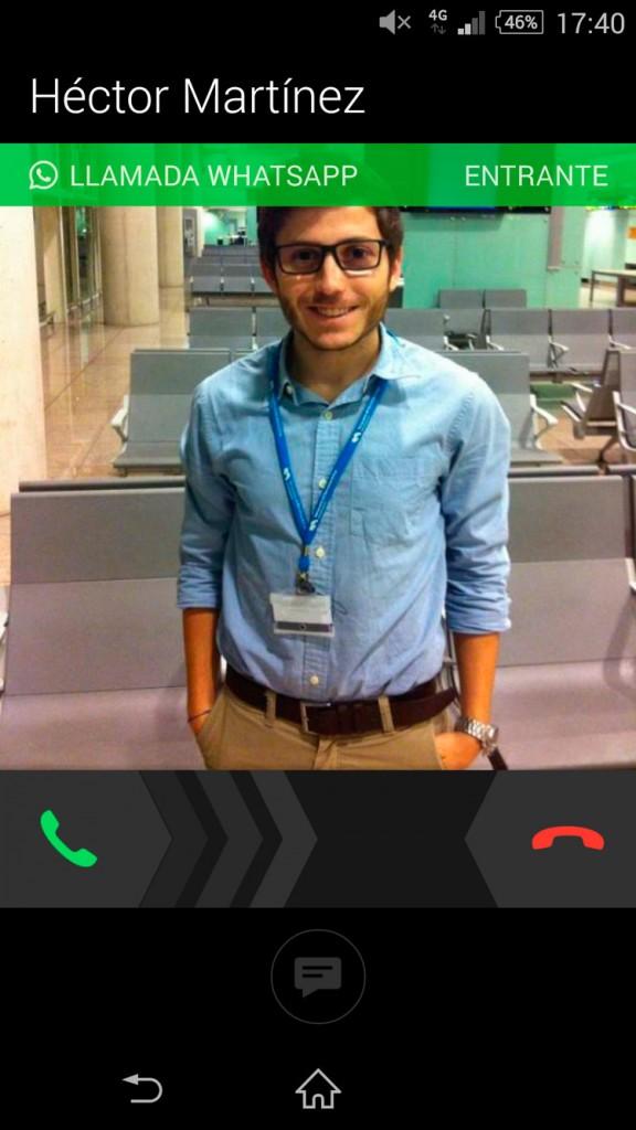Interfaz llamada WhatsApp