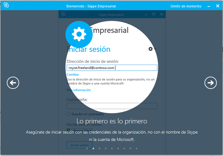 Iniciando sesión en Skype for Business