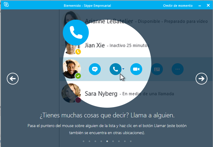 Llamadas en Skype for Business