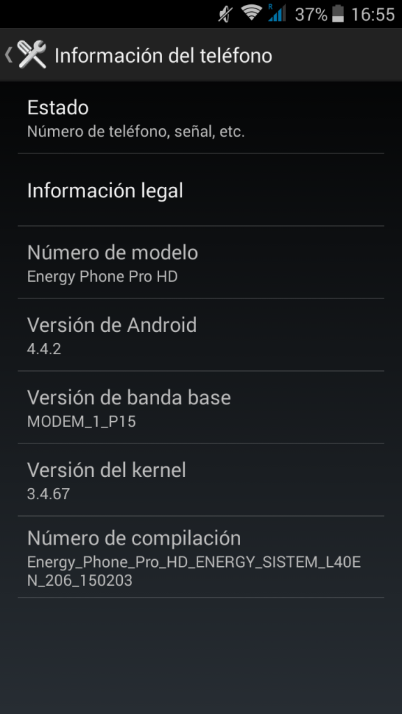 Sistema - Energy Phone Pro HD