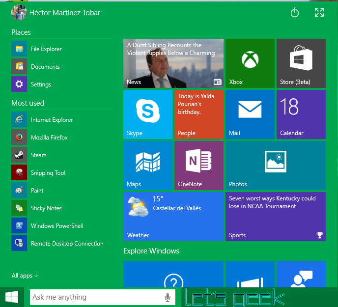 Windows 10 - Let's Geek