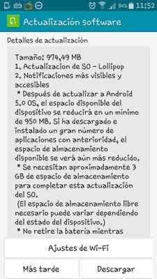 Actualización Samsung Galaxy Note 4