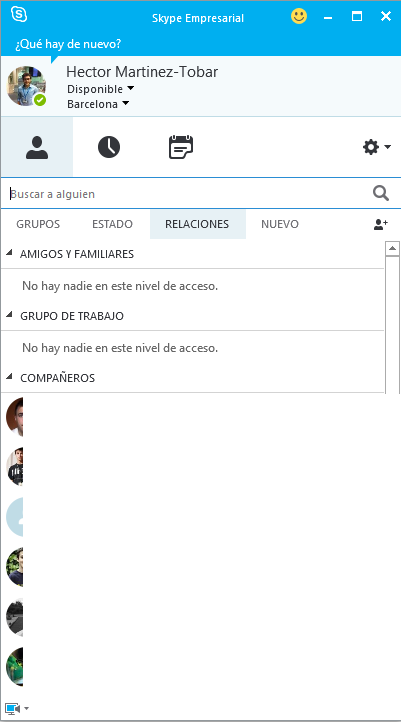Interfaz de Skype for Business