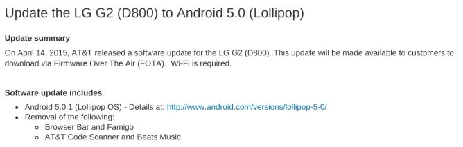 Lollipop 5.0 para LG G2
