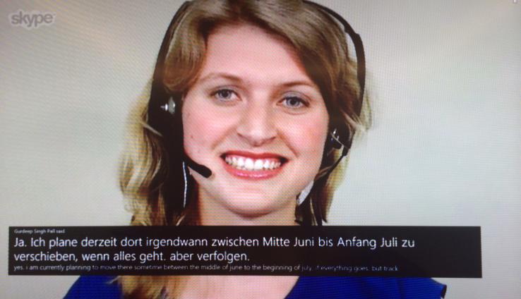 Demostración Inglés-Alemán Skype Translator