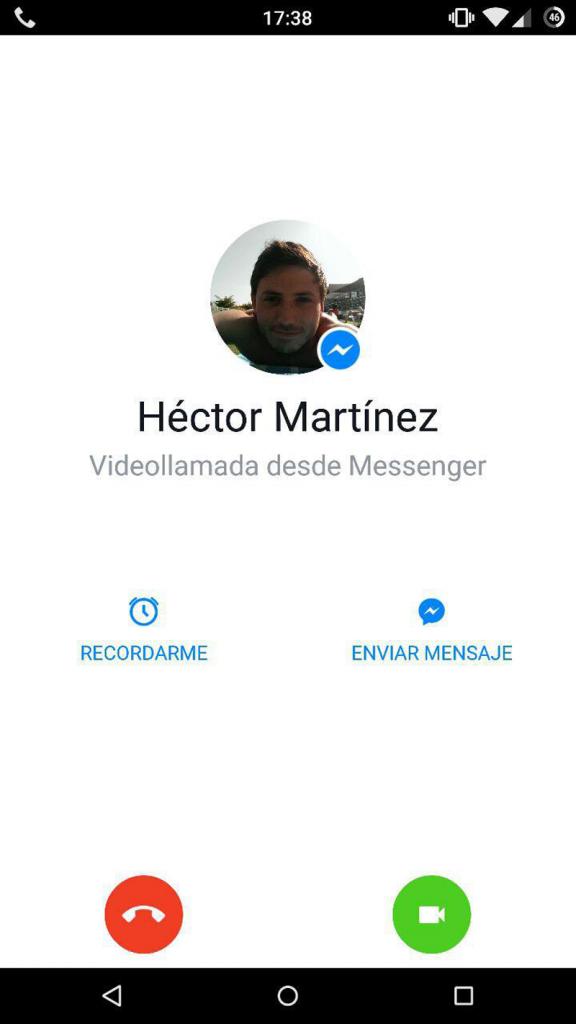 Recibiendo llamada en Messenger