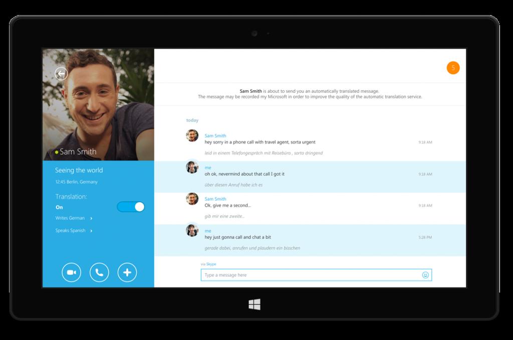 Conversación de texto Skype Translator