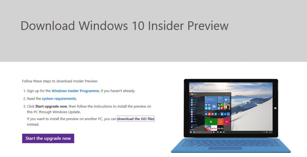 Programa Insider Windows 10