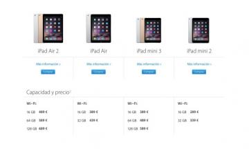 iPads a la venta actualmente